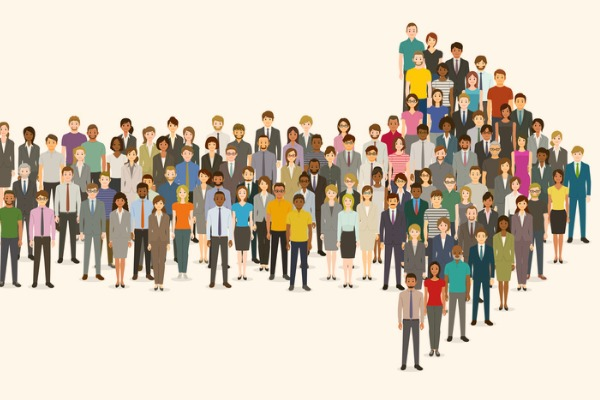 crowd-of-people-gathered-in-an-arrow-shape-vector-id1158733364